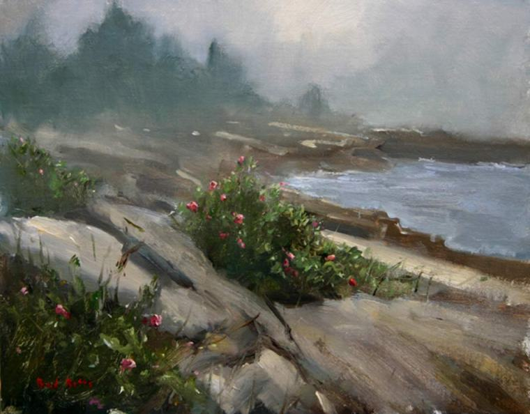 Beach Roses in the Fog by Brad Betts