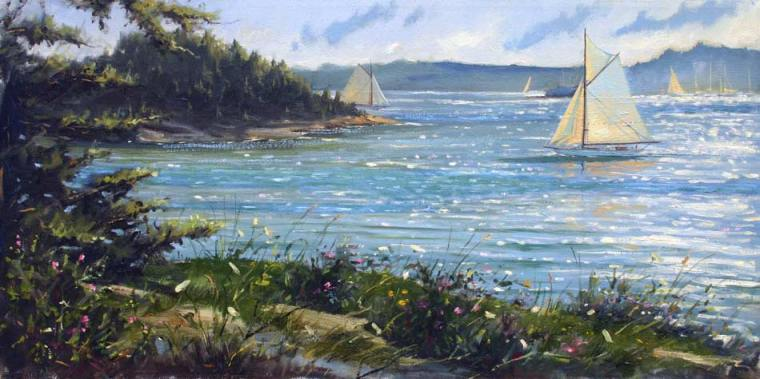 "Island Sailing, 12"" x 24""oil on canvas $4,000"