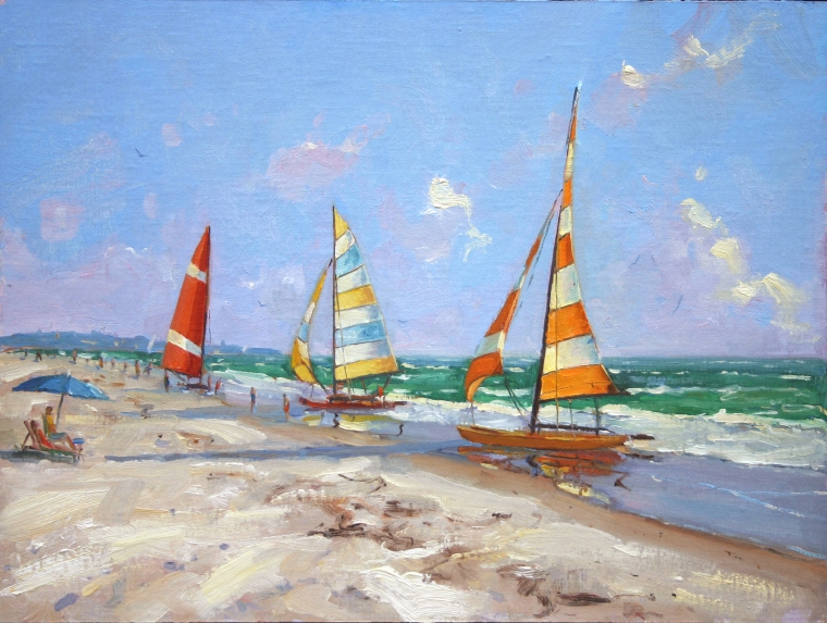 Siesta Sails 12 x 16 Oil on Linen $3,200
