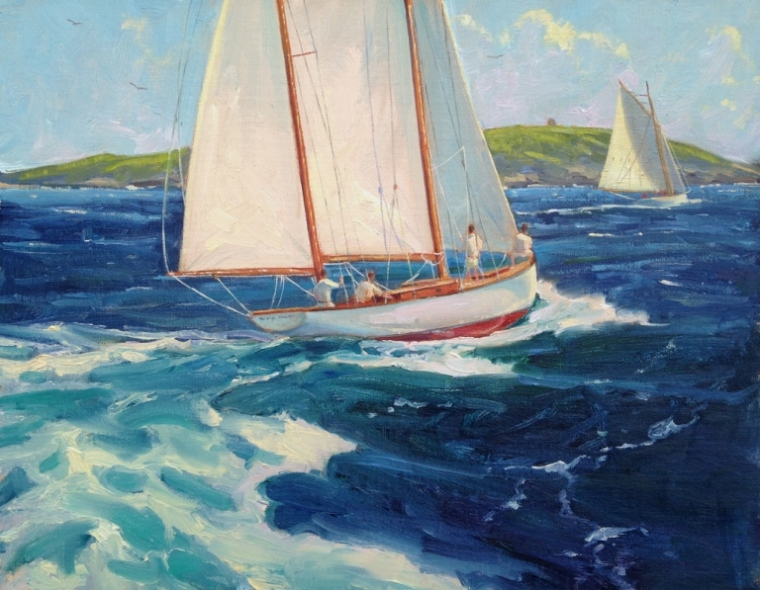 Racing Around Damariscove Island 11 x 14 Oil on Linen $2,200