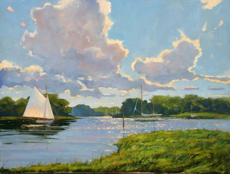 Clouds Over The Kennebunk River 30 x 40 Oil on Canvas $12,000