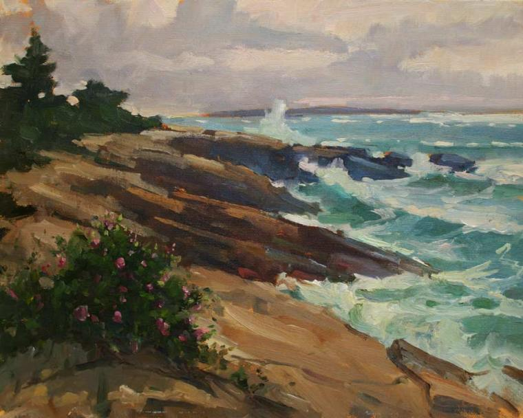 Ocean Point Surf 11 x 14 Oil on Canvas $1,800