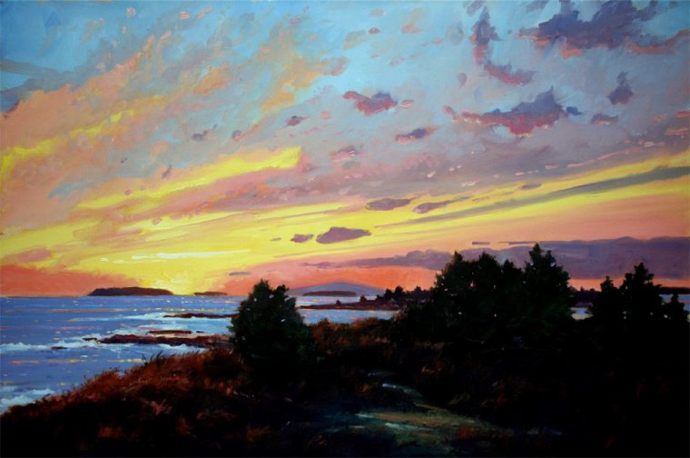 Sunset Over Cadillac 24 x 36 Oil on Canvas $8,000