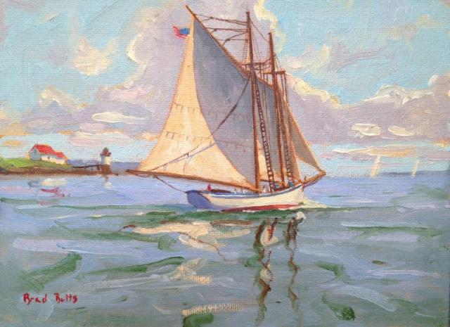 "American Eagle Passing Ram Island"" 6x8 Oil on Canvas"