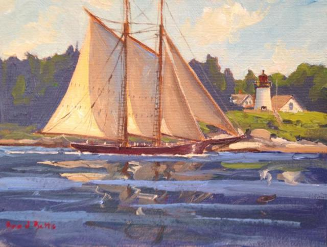 """Ernestina-Morrissey Passing Burnt Island  6x8 Oil on Canvas"