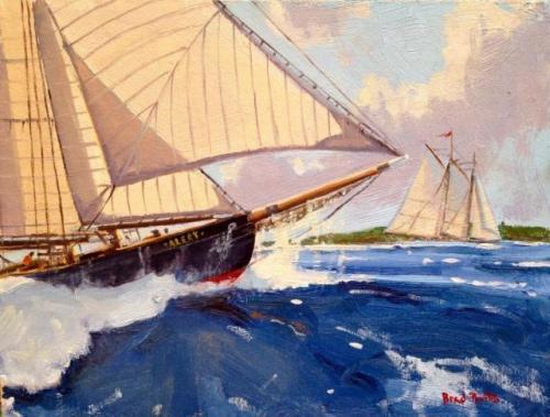 """""""Schooner Alert Rounding Damariscove Island"""" 6x8 Oil on Linen"""