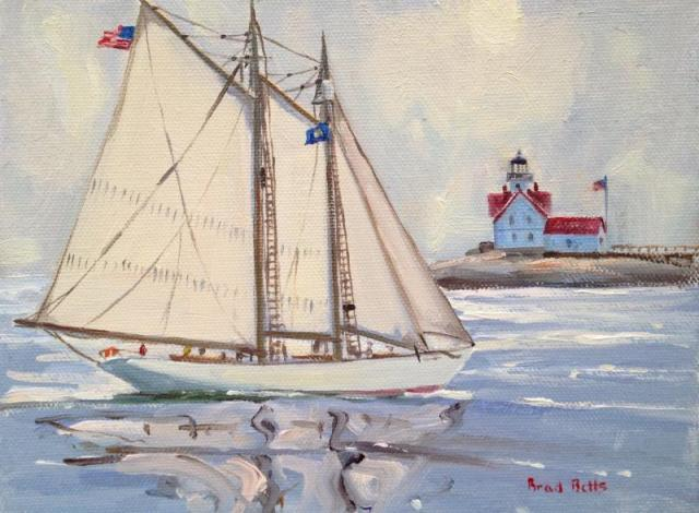 """The Bowdoin Approaching Cuckolds Light"" 6x8 Oil On Canvas"