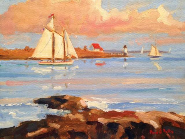 "Eastwind Sunset Cruise"" 6x8 Oil on Canvas"