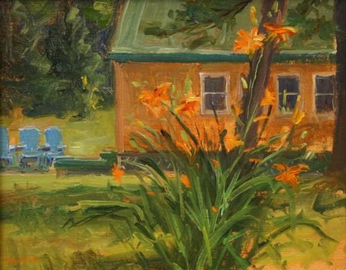 Orange Lillies Blue Chairs